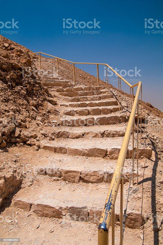 Rocky Staircase at Masada stock photo