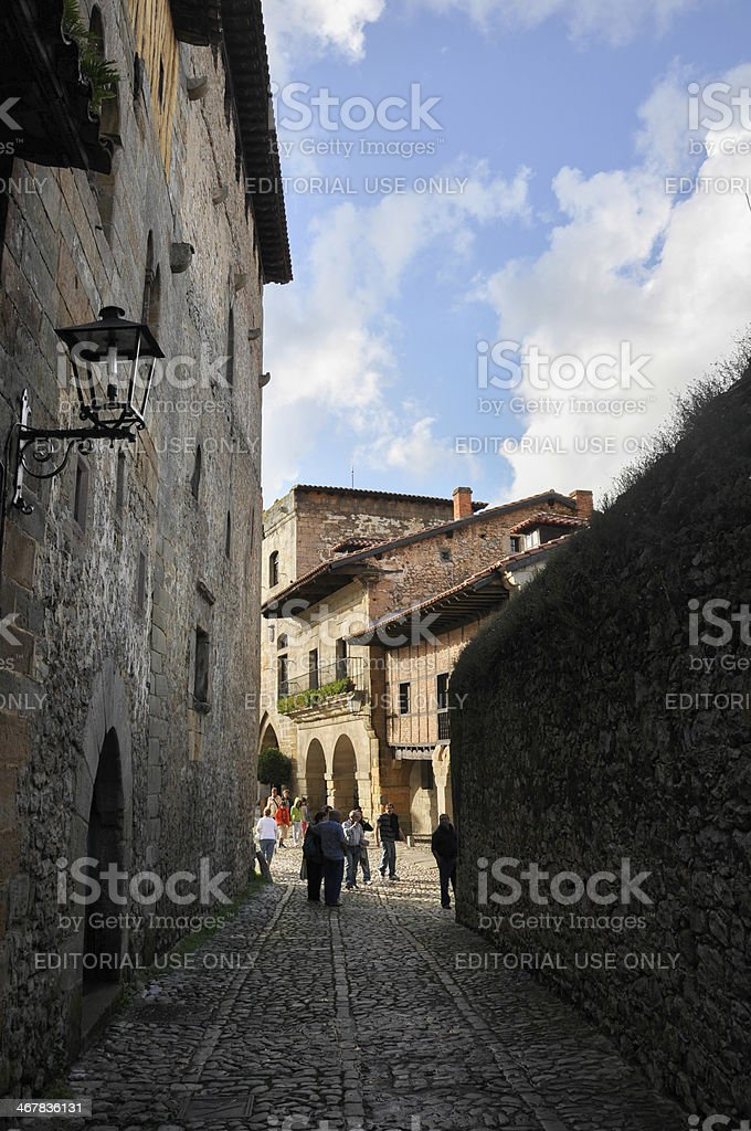 Rocky streat of Santillana del Mar stock photo