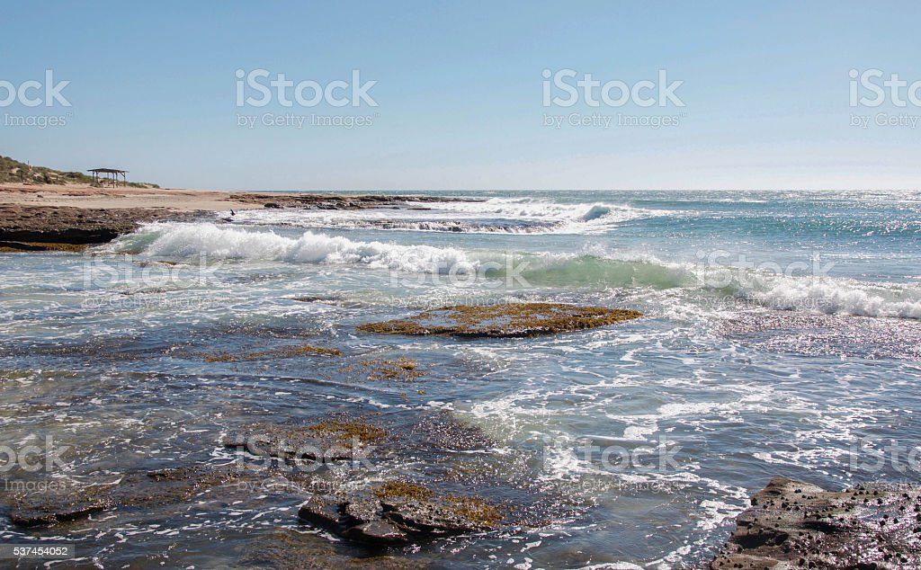 Rocky Surf at Jake's Point Beach stock photo