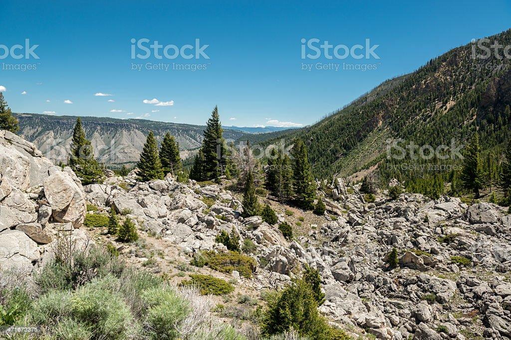 Rocky Terrain of Yellowstone National Park royalty-free stock photo