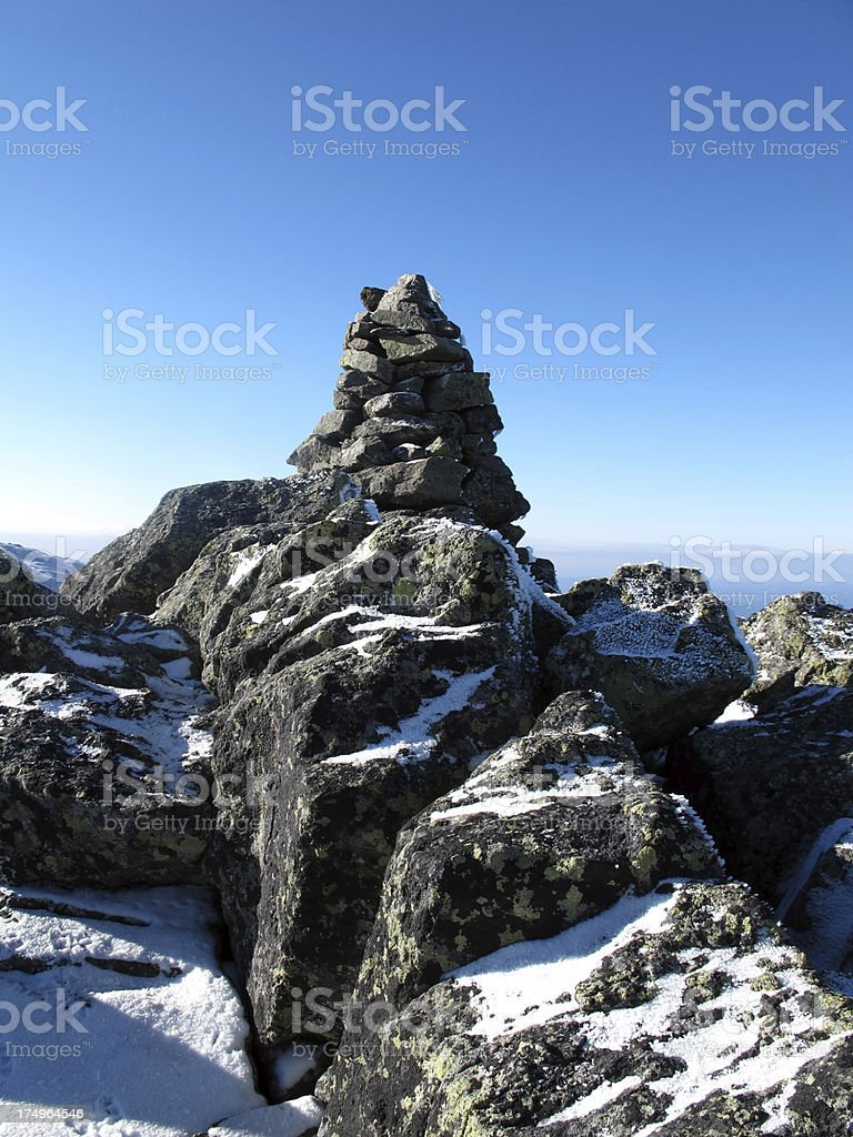 Rocky Trail Cairn on Mt. Madison stock photo