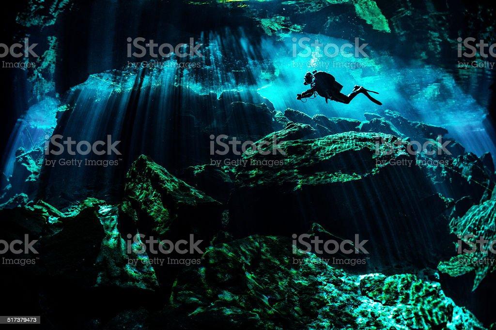 Rocky underwater places stock photo