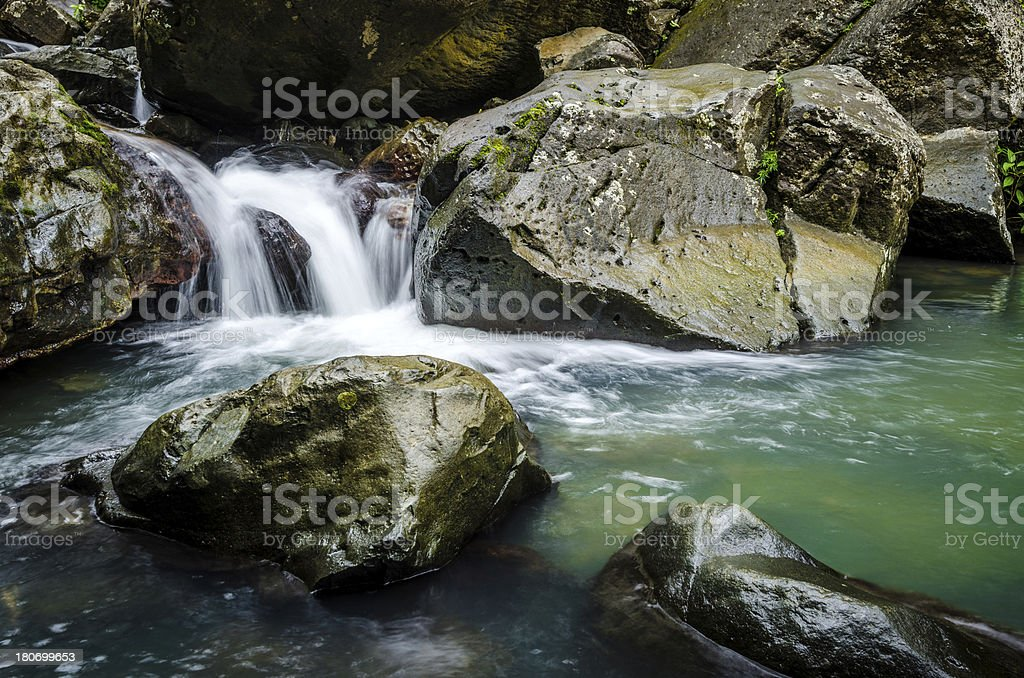 Rocky waterfall at El Yunque National Forest in Puerto Rico royalty-free stock photo