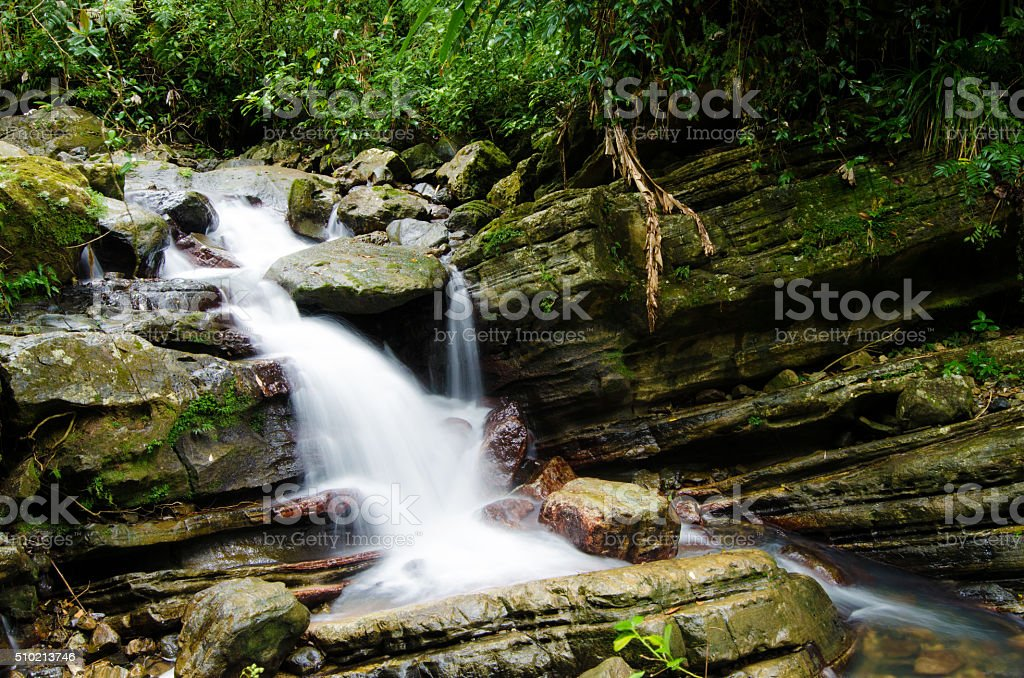 Rocky waterfall at El Yunque National Forest in Puerto Rico stock photo