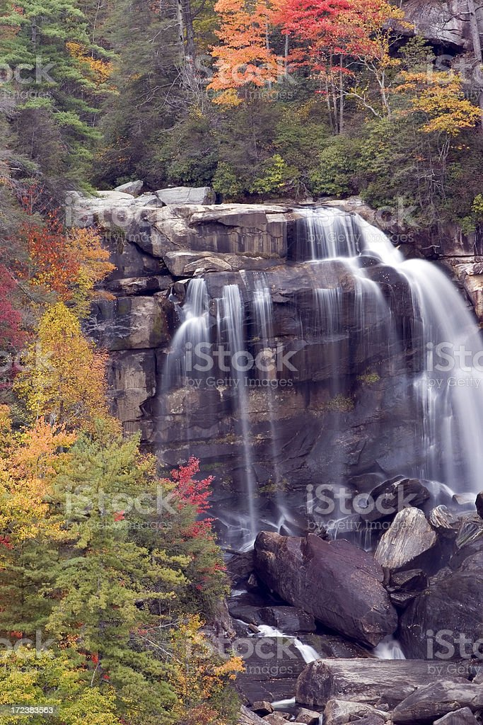 Rocky Waterfall in Autumn royalty-free stock photo