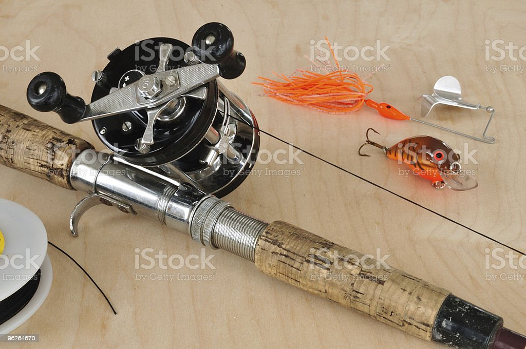 Rod, Baitcasting Reel and Other Fishing Gear royalty-free stock photo