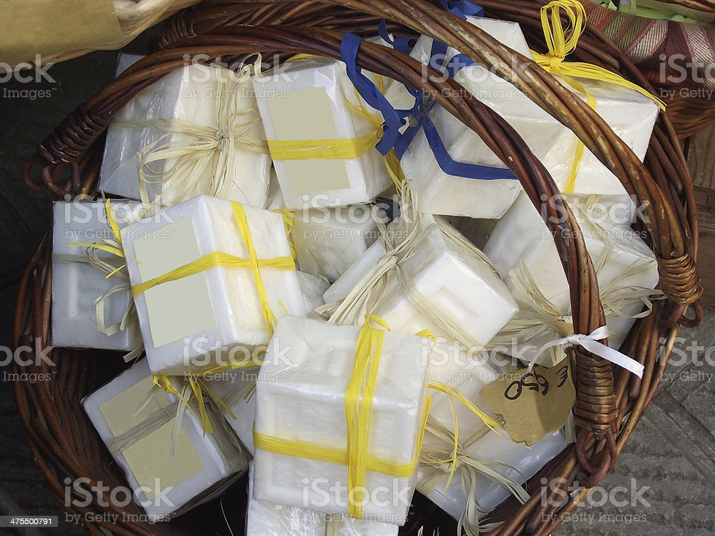 Rod basket and soaps with message royalty-free stock photo