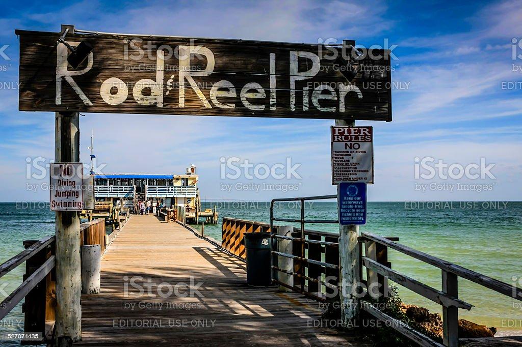 Rod & Reel wooden Pier on Anna Maria Island in Florida stock photo