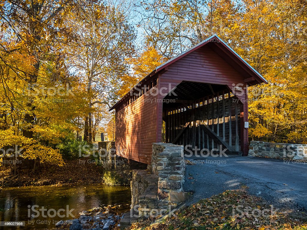 Roddy Road Covered Bridge and Yellow Autumn Leaves stock photo