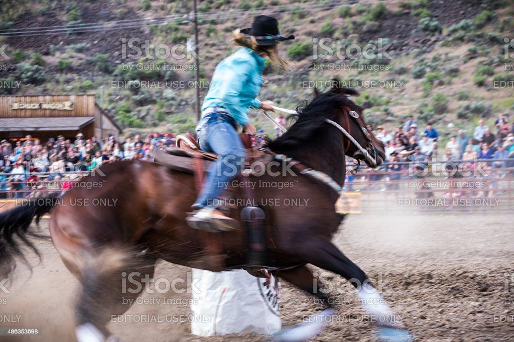 Rodeo Barrel Racing Blur stock photo