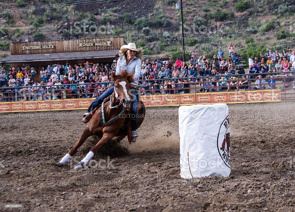 Rodeo Barrel Racing stock photo