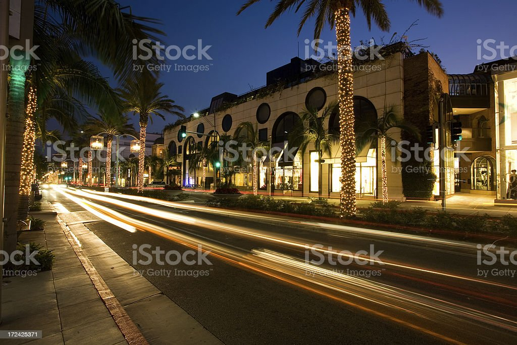 Rodeo Drive Beverly Hills Long Exposure stock photo