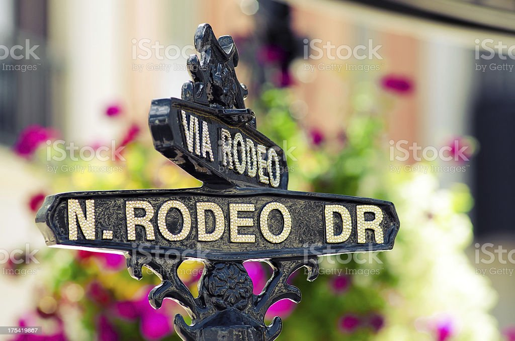 Rodeo Drive sign in Beverly Hills, CA stock photo