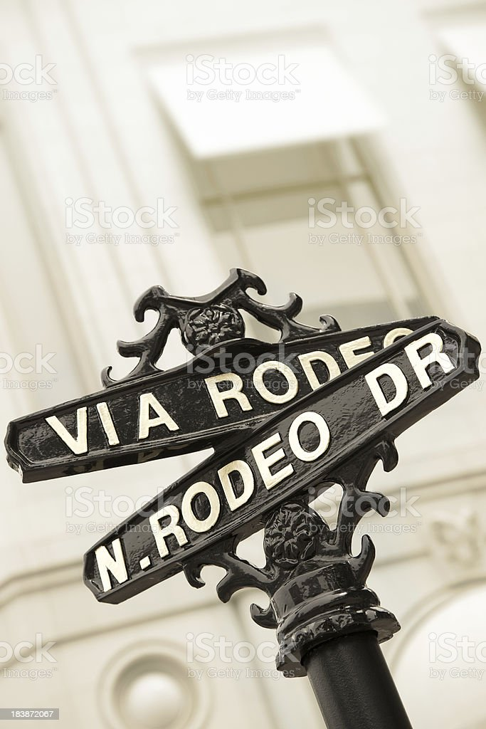 Rodeo Drive sign in Beverly Hills stock photo