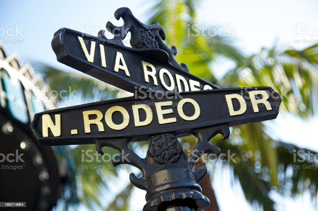 Rodeo Drive sign with palm trees in Beverly Hills stock photo