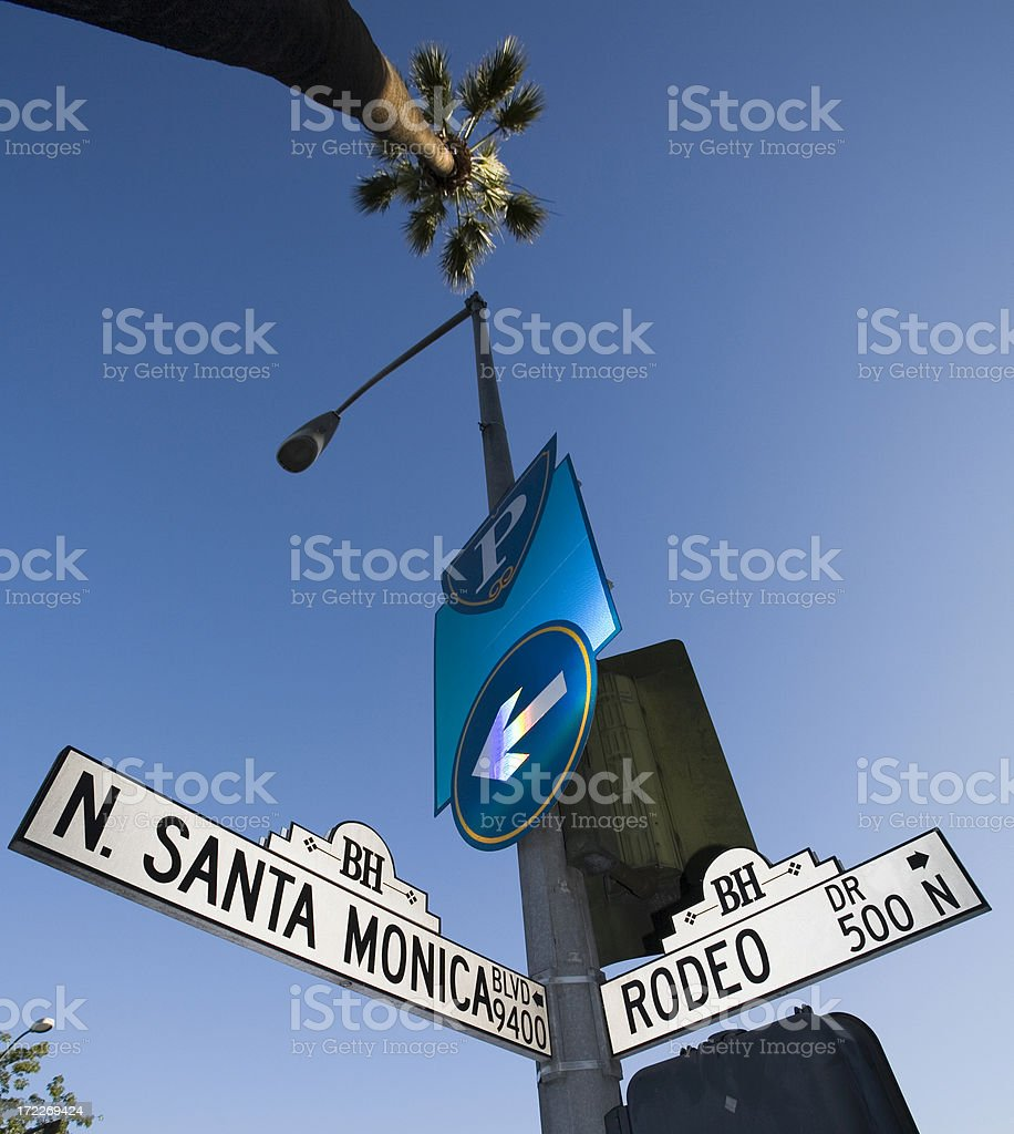 Rodeo Drive street sign and palm tree in Beverly Hills stock photo