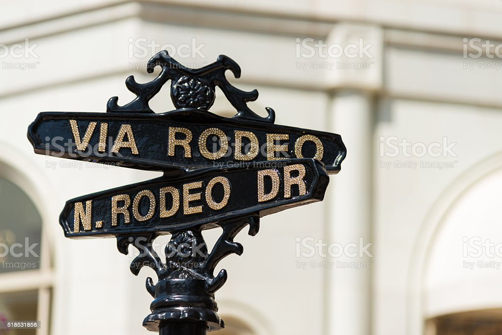 Rodeo Drive street sign in Beverly Hills California stock photo