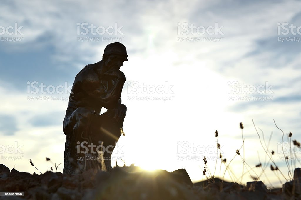 Rodin's Thinker in Silhouette stock photo