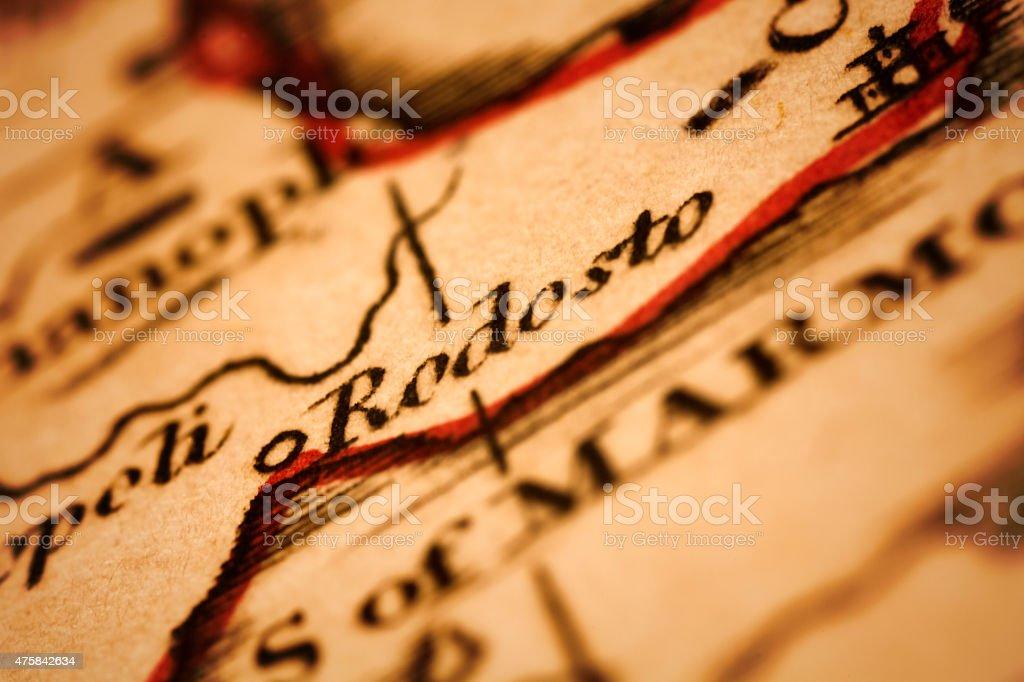 Rodosto (Tekirdag) on an Antique map stock photo