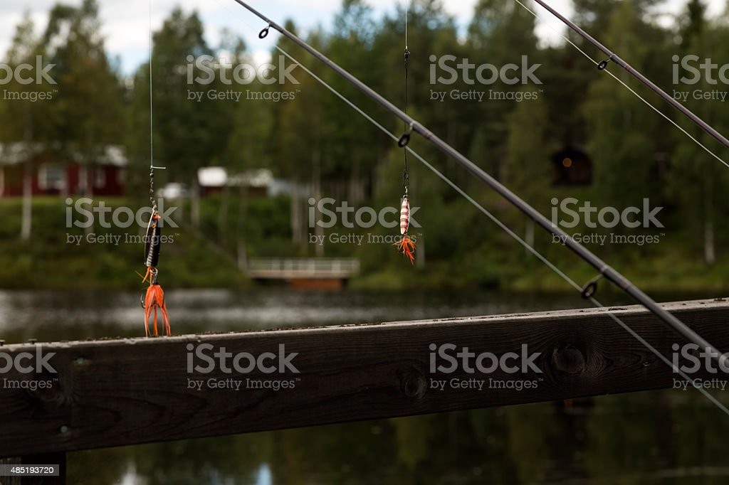 Rods and lures royalty-free stock photo