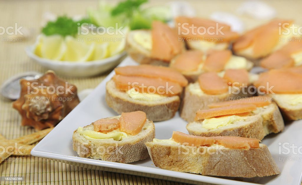 Roe on baguette stock photo
