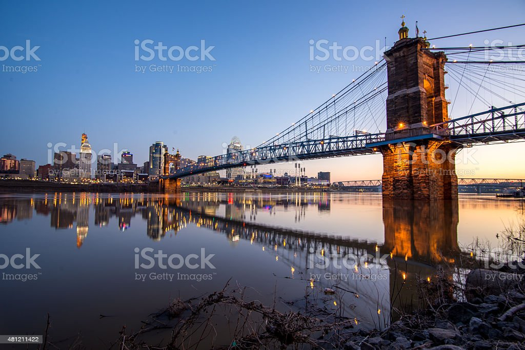 Roebling Bridge, Cincinnati, OH stock photo