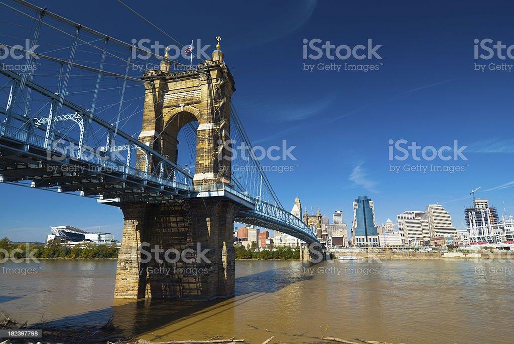 Roebling Suspension Bridge and Cincinnati skyline royalty-free stock photo