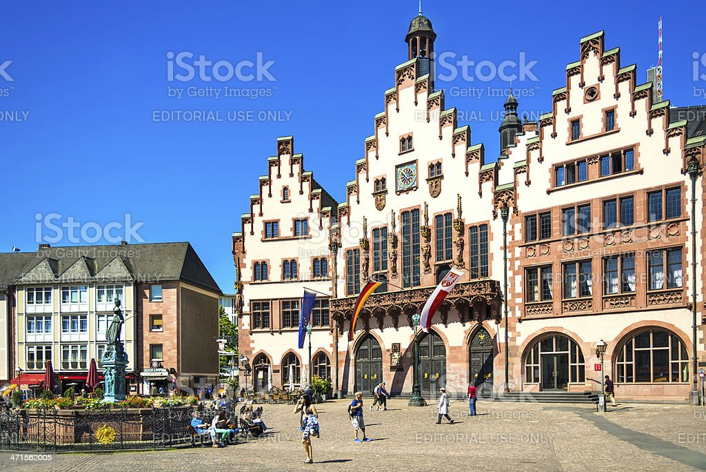 Roemer square with the city hall of Frankfurt, Germany royalty-free stock photo