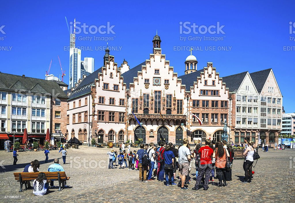 Roemer square with the city hall of Frankfurt, Germany stock photo