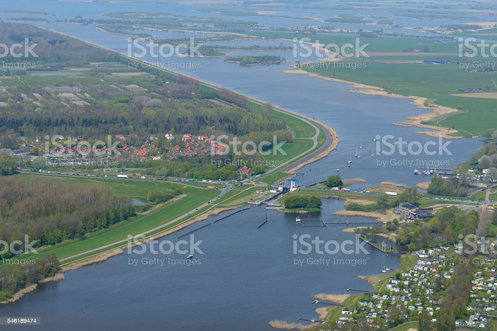 Roggebot bridge connecting Flevoland to Overijssel stock photo