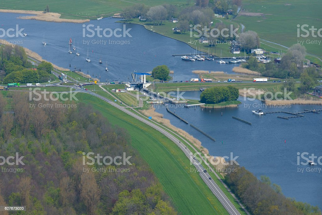 Roggebot bridge connecting Flevoland to Overijssel stock photo