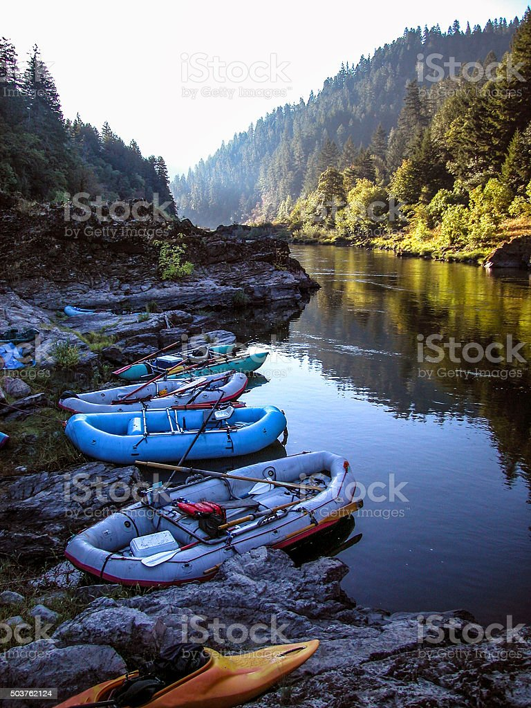 Rogue river rafts stock photo