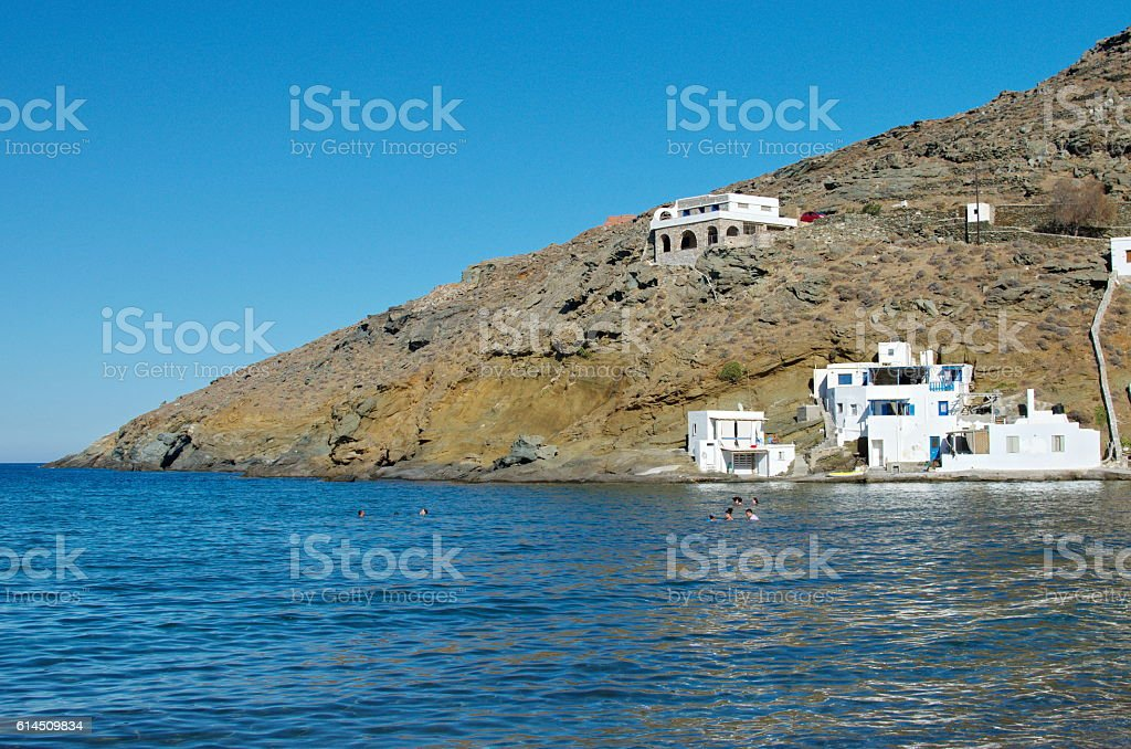 Rohari Beach in Tinos Island stock photo