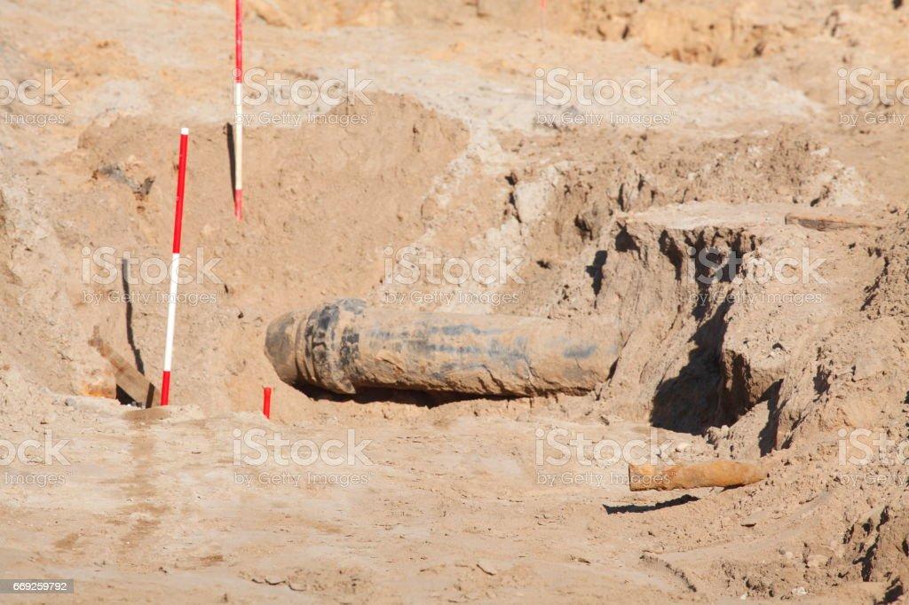 Rohr im Sand  auf einer Baustelle, Straßenbauarbeiten stock photo
