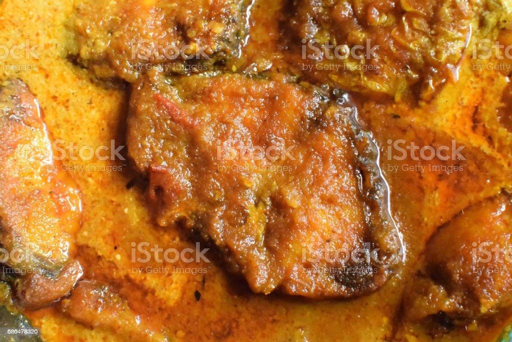 Rohu fish kalia - a spicy Bengali dish stock photo