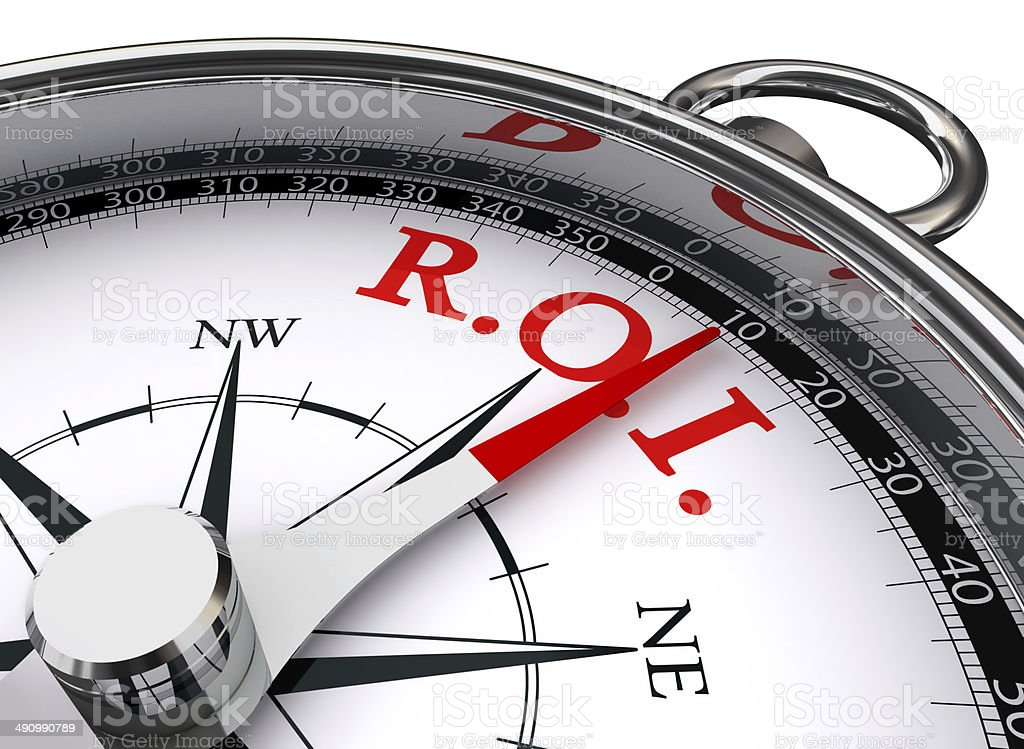 roi red word on concept compass stock photo