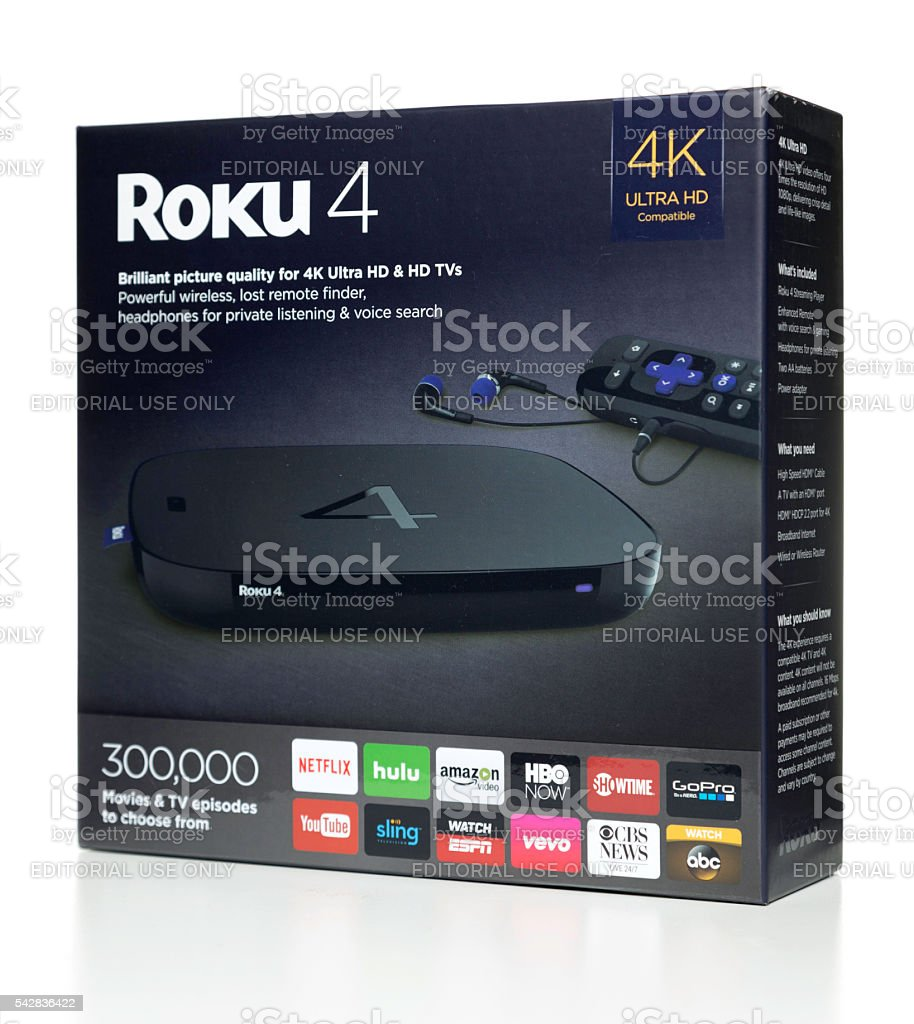 Roku 4 Ultra HD box side stock photo