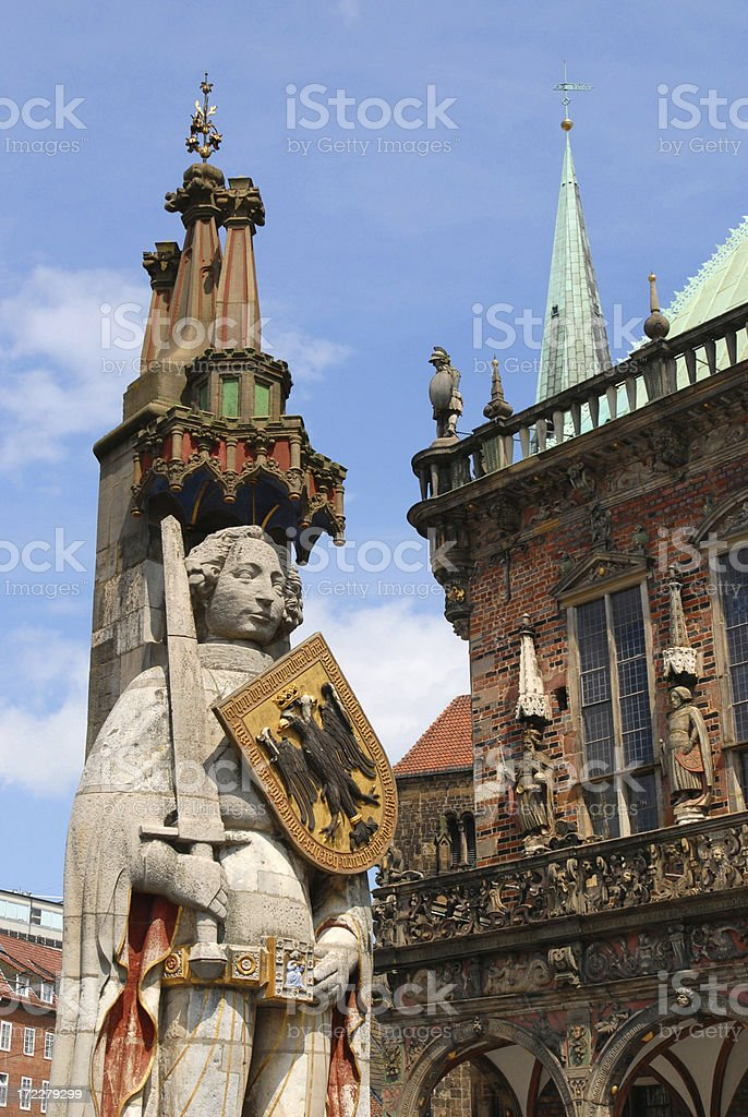 Roland and Rathaus stock photo