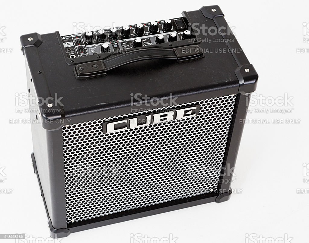 Roland Cube 80GX guitar amplifier seen from above, showing controls stock photo