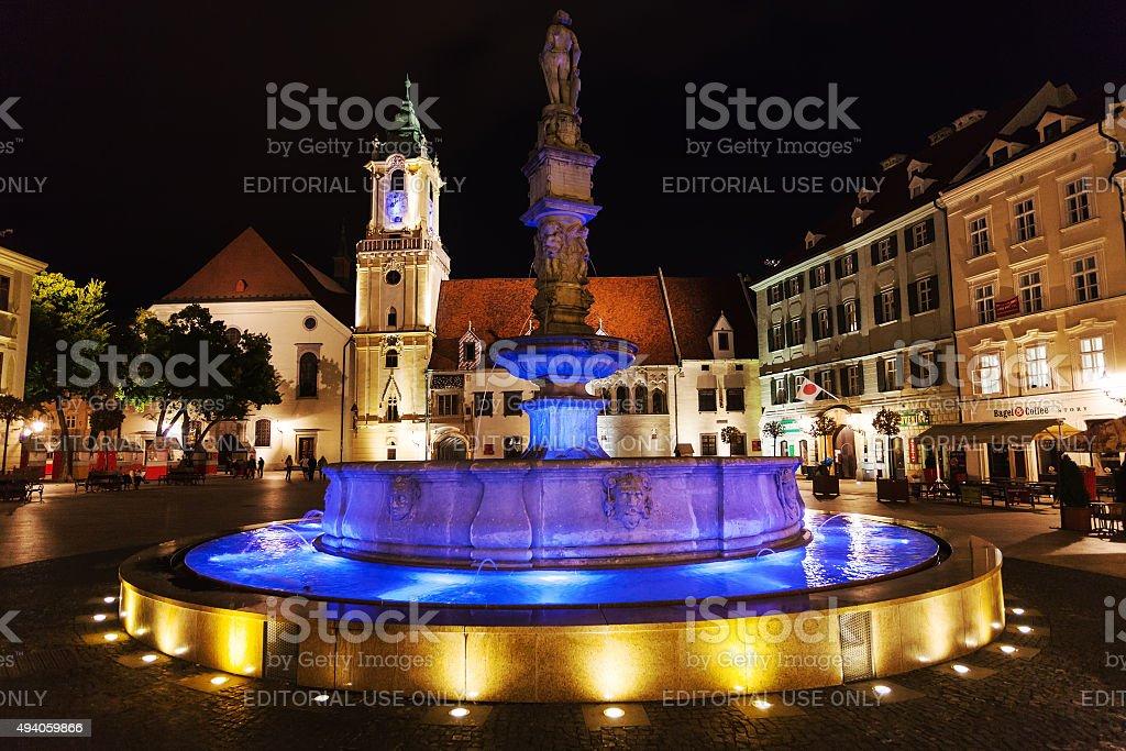 Roland Fountain in Bratislava in night stock photo