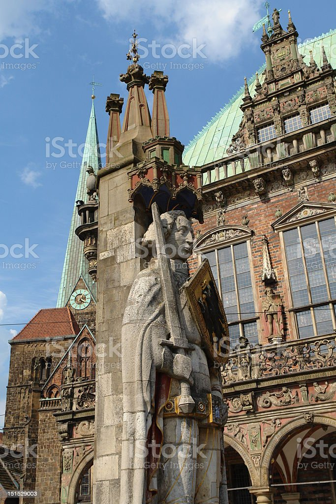 Roland statue in Bremen stock photo