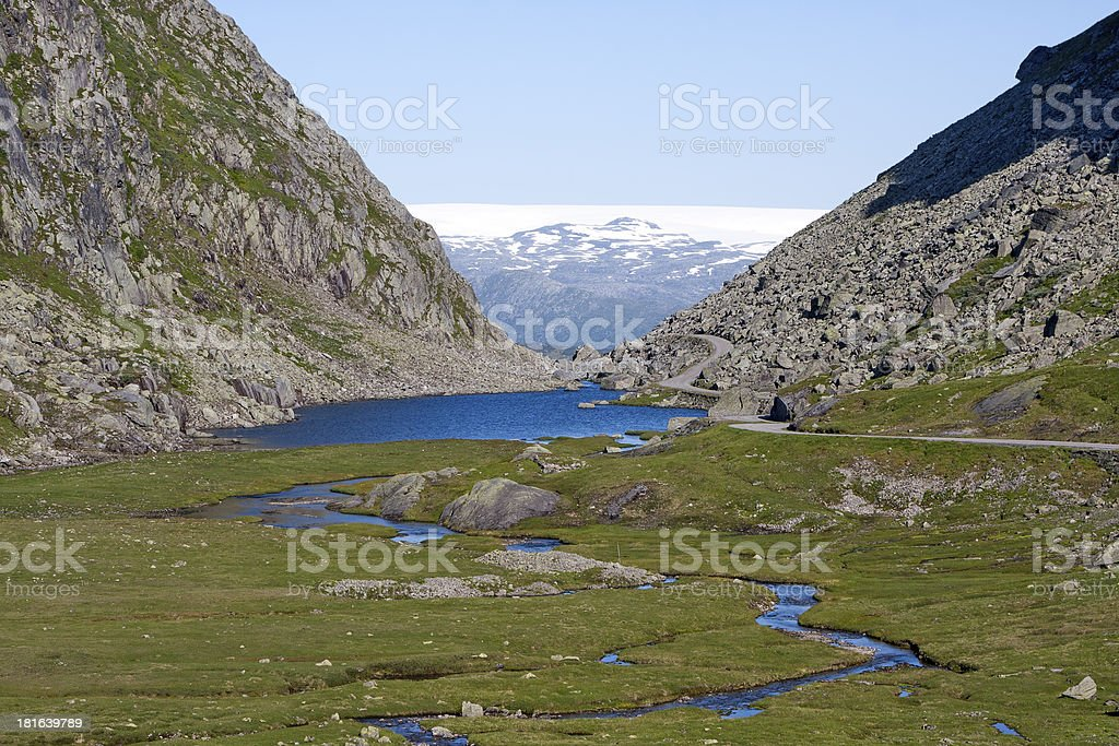 Roldalsfjellet with Folgefonna glacier on the background (Roldal royalty-free stock photo