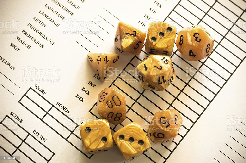 Role-Playing Game Character Sheet and Dices stock photo