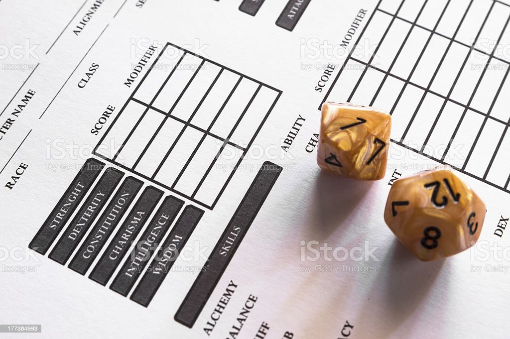 Role-Playing Game Character Sheet Two Dices d12 d8 stock photo