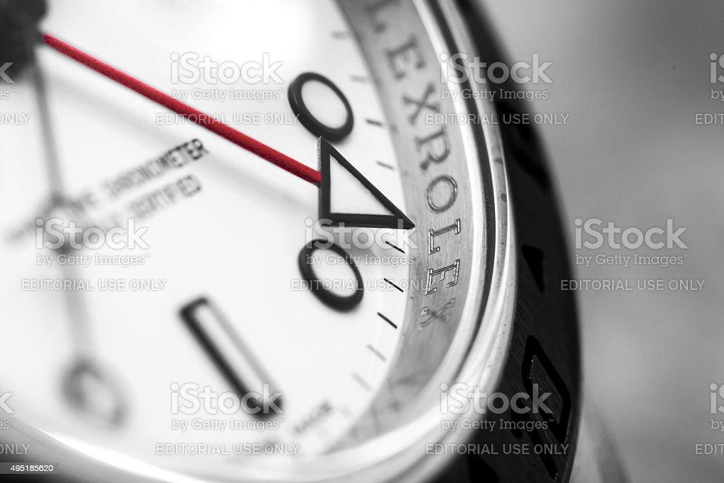 Rolex Explorer II Macro of GMT Hand stock photo