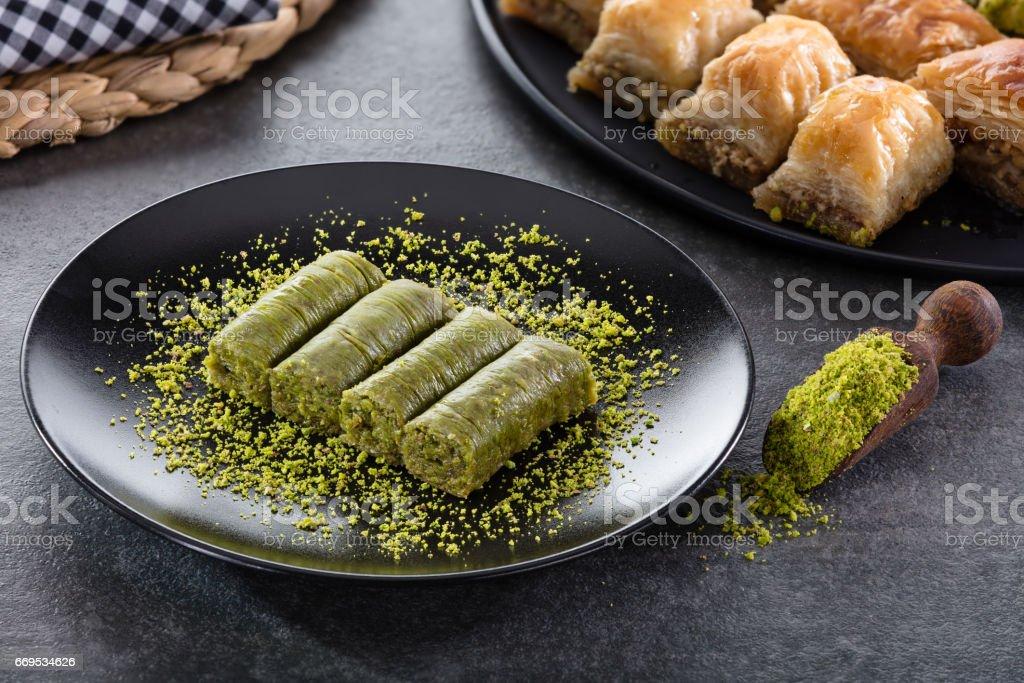 Roll Dessert with Pistachio stock photo