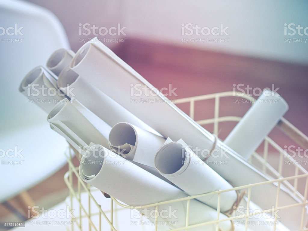 roll drafting paper stock photo