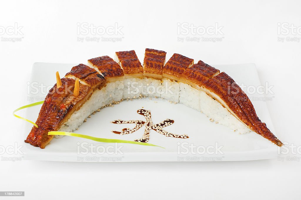 Roll dragon with eel. Sushi. royalty-free stock photo