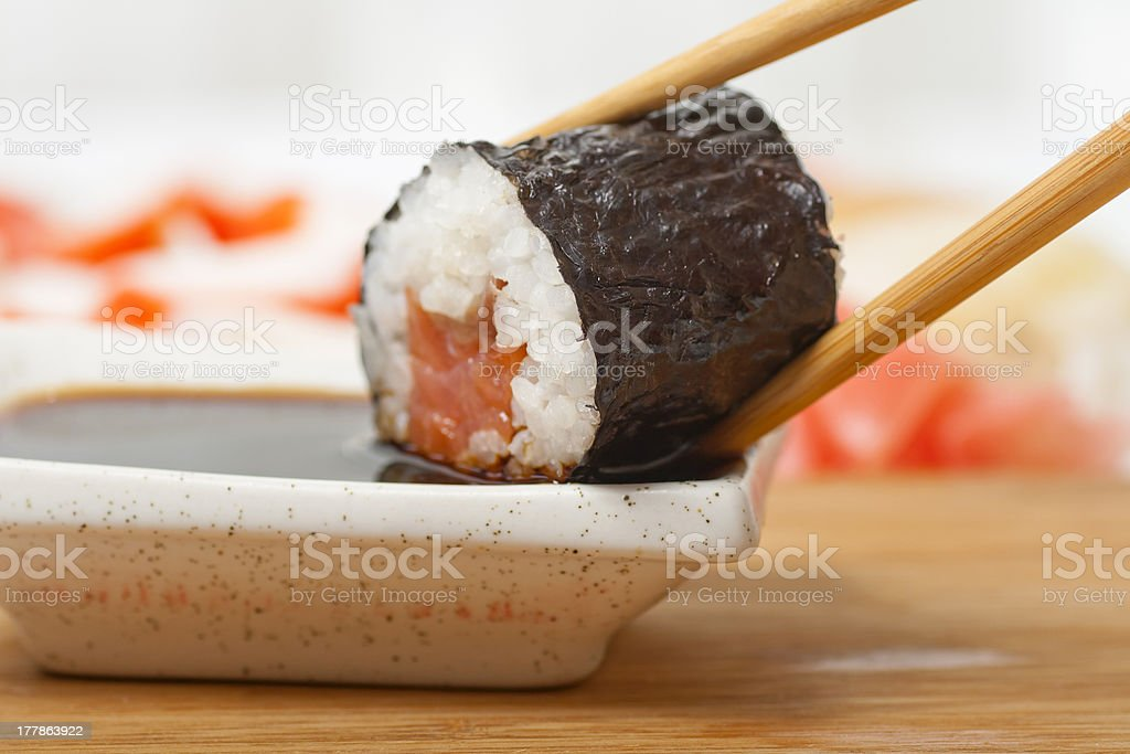 Roll in soy sauce royalty-free stock photo