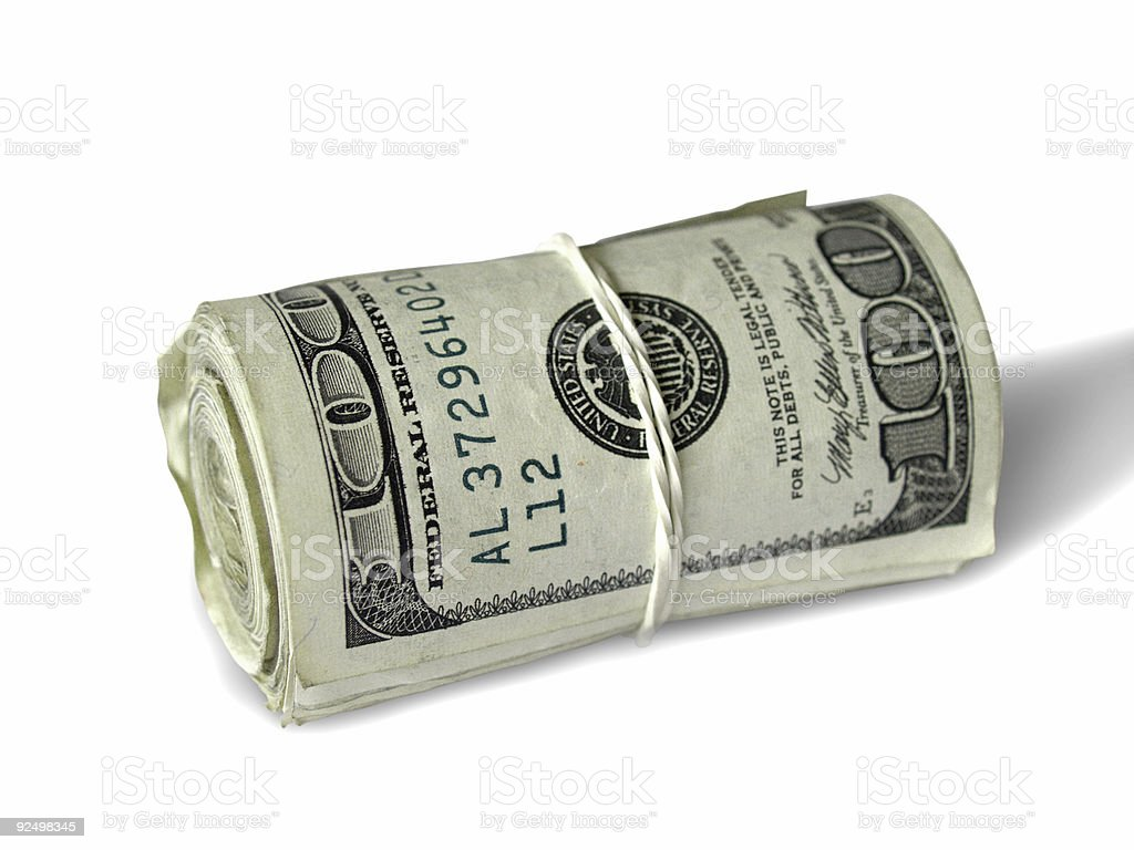 Roll of 100 Dollar Bills royalty-free stock photo